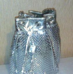 Disco silver metal handbag