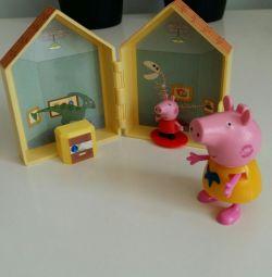 Peppa χρυσή με το σπίτι