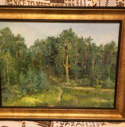 Τοπίο λάδι ζωγραφική πευκοδάσος πετρελαίου ζωγραφική