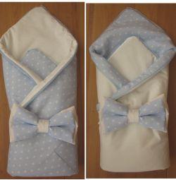 Конверт-одеялко на выписку новорожденного мальчика