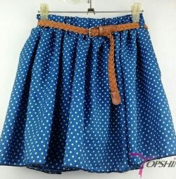 Skirt blue with polka dots, new