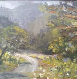 Picture Altai, road to the mountains, 15 * 20 oil