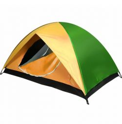 The tent is two-layer 3-seater yellow + green