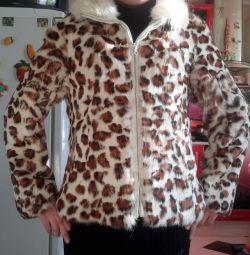Γούνινο μπουφάν με φερμουάρ.