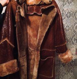 Sheepskin coat crack, natural fur new