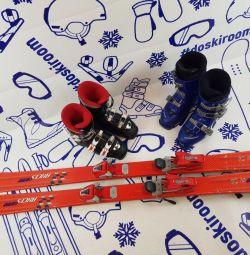 Alpine skiing 130 cm + bindings + boots