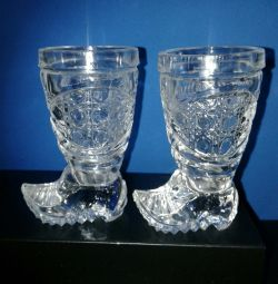 Shot glasses crystal boots. (Pair)