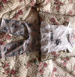 Σετ (παντελόνια και μπλουζάκι) για κορίτσια για 1-2 γραμμάρια