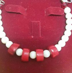 Natural Coral Bracelet and Earrings