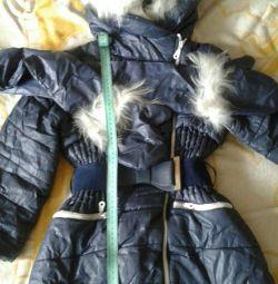 Coat for girls height 120cm swan fluff