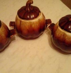 Ceramic baking pots 3 pcs.