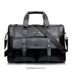 Δερμάτινη τσάντα ανδρών δερμάτινη Baillr μαύρη