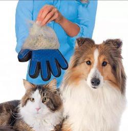 Hayvan kürkü taraması için eldiven