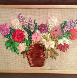 Handmade painting (embroidery with ribbons)