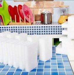 Меламиновые белые губки 100x60x20