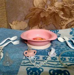 Baby dishes, nipples, aspirator nosal