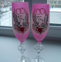 Wedding glasses, pink.