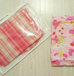 Одеяло байковое + постельное белье в кроватку