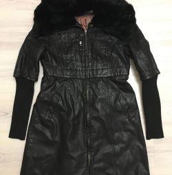 Coat with rabbit fur