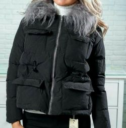 Stylish jacket) collar natural lama !!