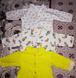 Baby's undershirts from birth to a year