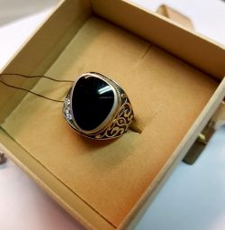 Signet with agate. 925 sterling silver
