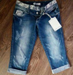 Новые.Капри джинсовые