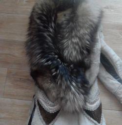 γούνινο παλτό με ασημένια αλεπού και γούνα πόνι