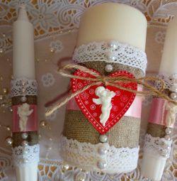 Rustik düğün mumları