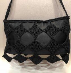 Σατέν μαύρο τσάντα συμπλέκτη SUZY SMITH
