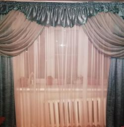 Set of curtains with tulle and lambrequin