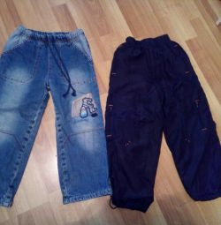 Jeans warm and sport pants height 104