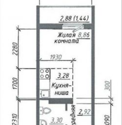 Apartment, free plan, 18 m²