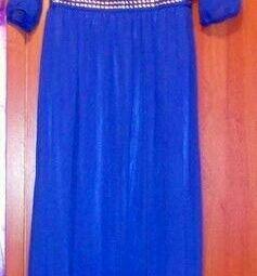 Синее шифоновое платье р.46