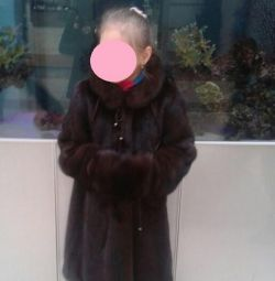 Mink coat with muff for a girl