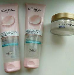 Foam, scrub and night cream 35+, Loreal