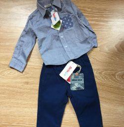 Pantaloni și cămașă pe băiat 74 cm nou