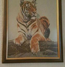 Ζωγραφική, τίγρης σταυροβελονιών