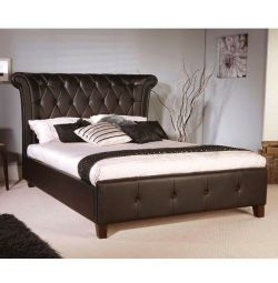 Retro Bed with Dark Brown PU 160x200