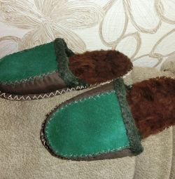 Slippers made of natural sheepskin. New ones.