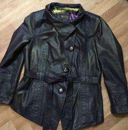 Темно-синяя лайковая куртка для леди р 48-50