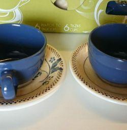 Setul de ceai Andina, cupe și farfurioare
