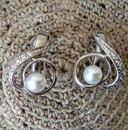Серьги серебро, жемчуг, фианиты