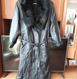 natural leather coat, turret new 50/52