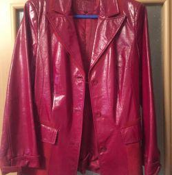 Куртка шкіра (лак з замшею)