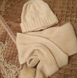 Шапка + шарф на девочку 7-12 лет