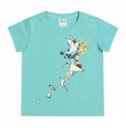 T-shirt Origami, τυρκουάζ
