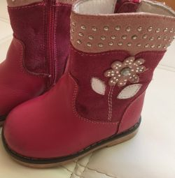 Boots for girls genuine leather and fur