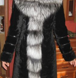 Muton fur coat with silver fox fur 42-46