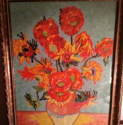 Cross-stitch picture Sunflowers
